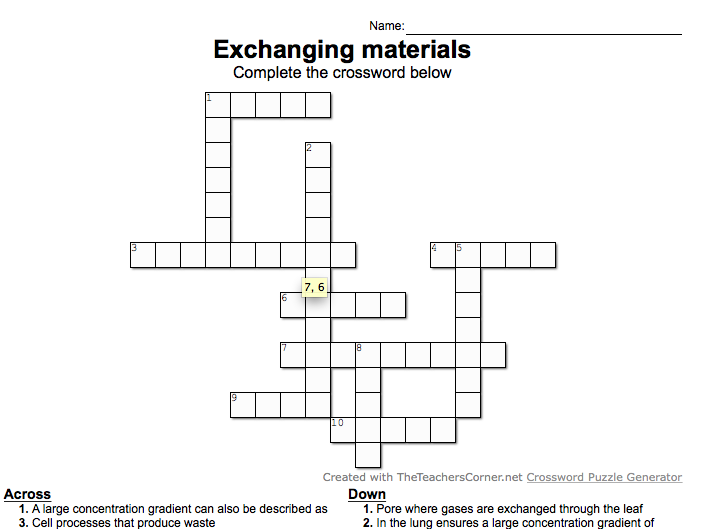 GCSE biology crosswords NEW specification - Lessons 6 to 10 of Chapter 1 Cell Structure & Transport