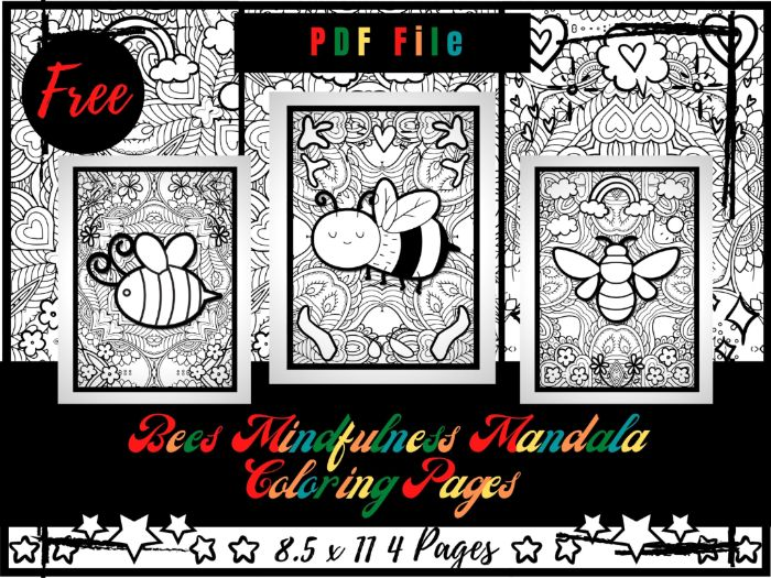 FREE Adorable Bees Mindfulness Mandala Colouring Pages For Kids, Free Printable