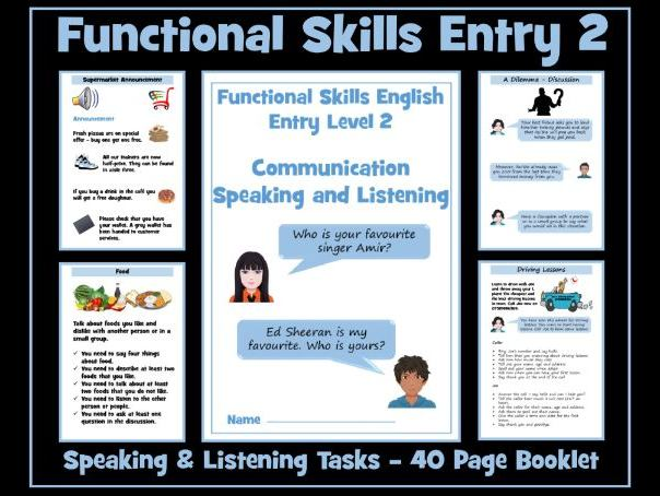 English Functional Skills Entry Level  2 Speaking and Listening