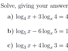 Changing the base of logarithms worksheet (with solutions)
