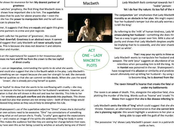 GCSE Macbeth Revision - Analysis of Quotes