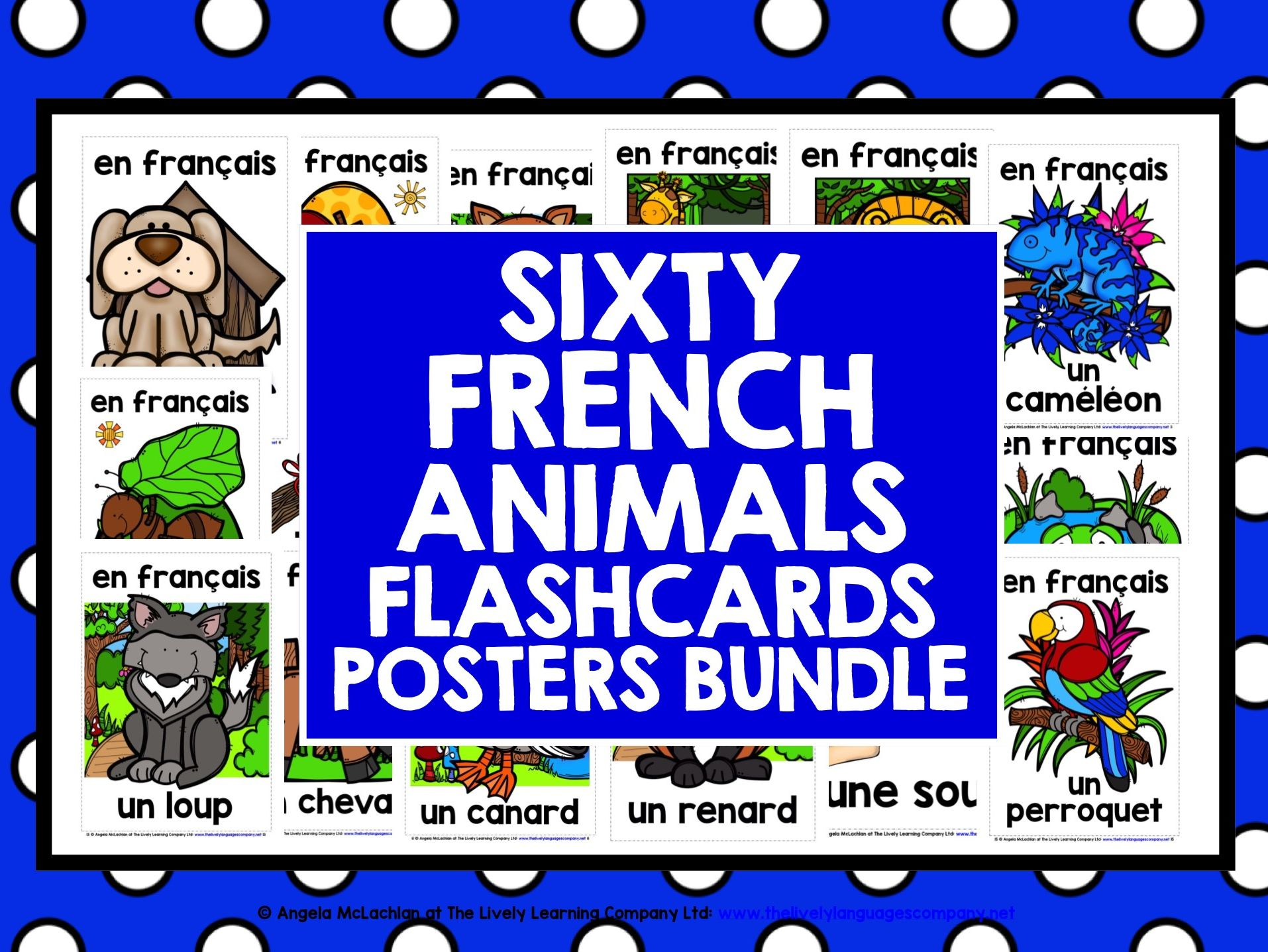 FRENCH ANIMALS 60 FLASHCARDS POSTERS