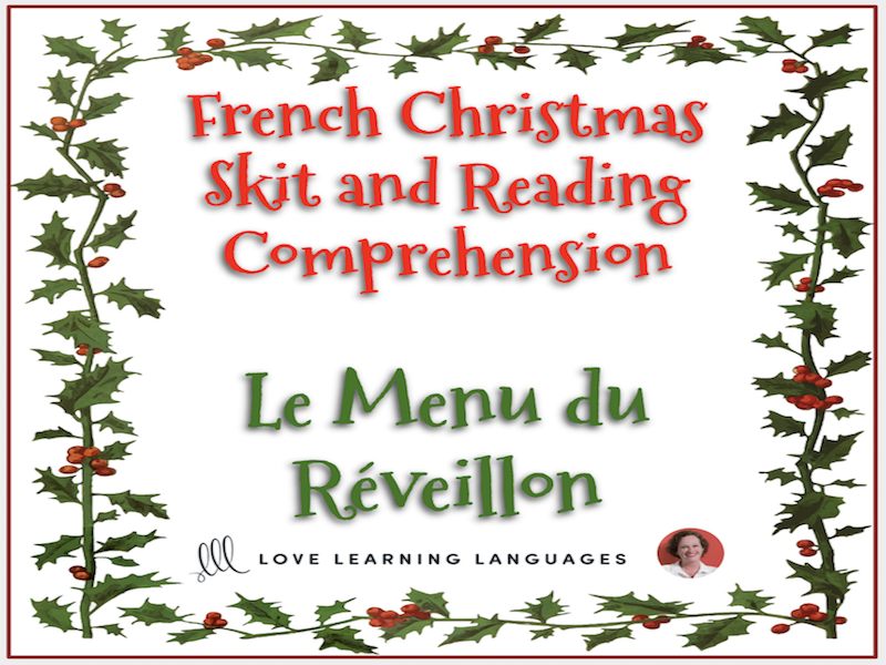 French Christmas skit and reading comprehension - Noël - Mini-dialogue - Le Menu du Réveillon