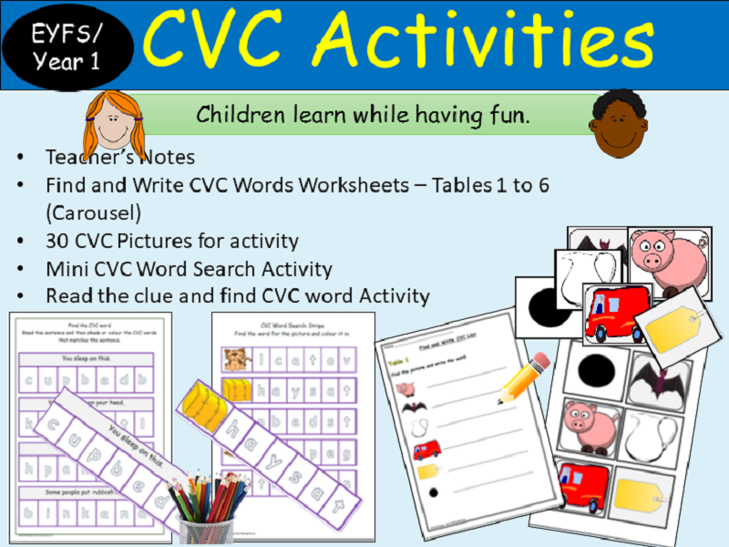 Phonics CVC Words: Activities, Picture Cards, CVC Find/Colour, Read/Write Tasks- Reception/Year 1