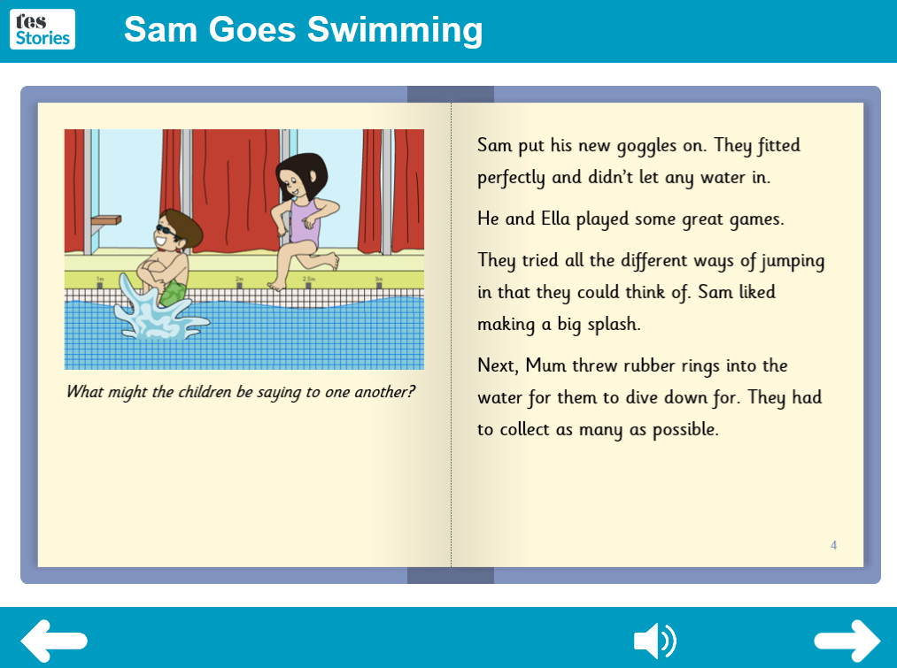 Sam Goes Swimming Interactive Storybook - Independent Reader Level - PSHE KS1