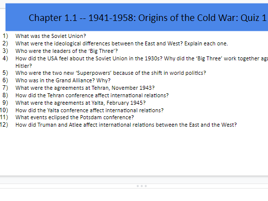 GCSE HISTORY Superpowers & The Cold War Revision Quizzes Booklet for Teachers & Students