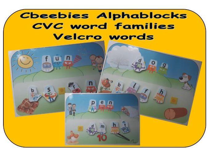 Cbeebies Alphablocks CVC word family velcro words
