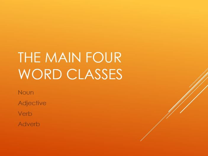 Word Classes - Noun, Verb, Adjective, Adverb