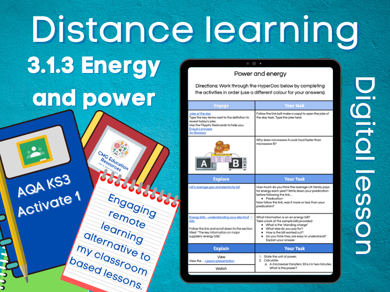 3.1.3 Energy and power: Distance learning (AQA KS3 Activate 1)
