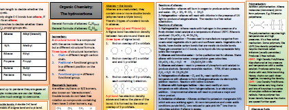 Alkanes and alkenes knowledge organiser