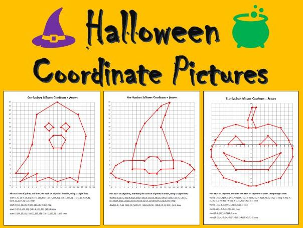 Halloween Coordinate Picture Differentiated Worksheets with Answers