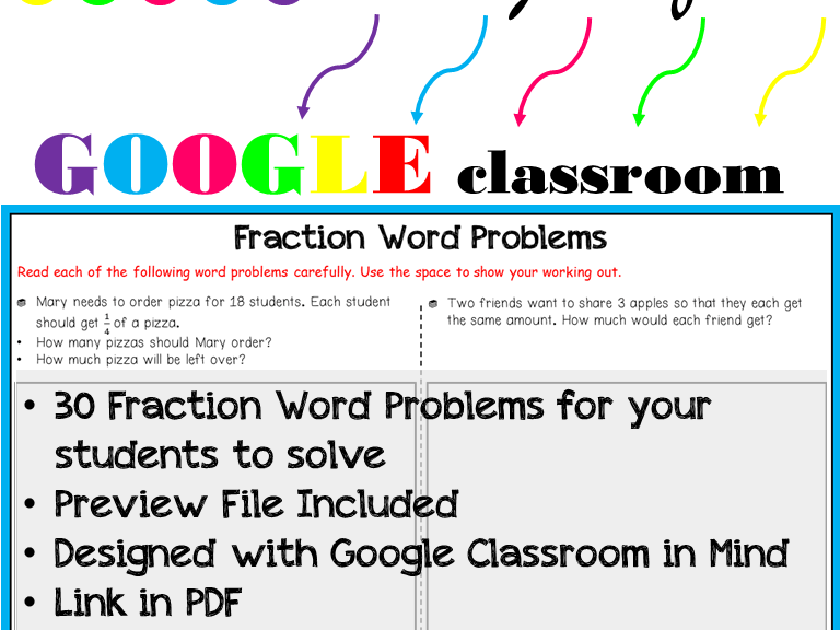 Grade 3 - 5: Fraction Word Problems: Google Classrooms: Remote Learning