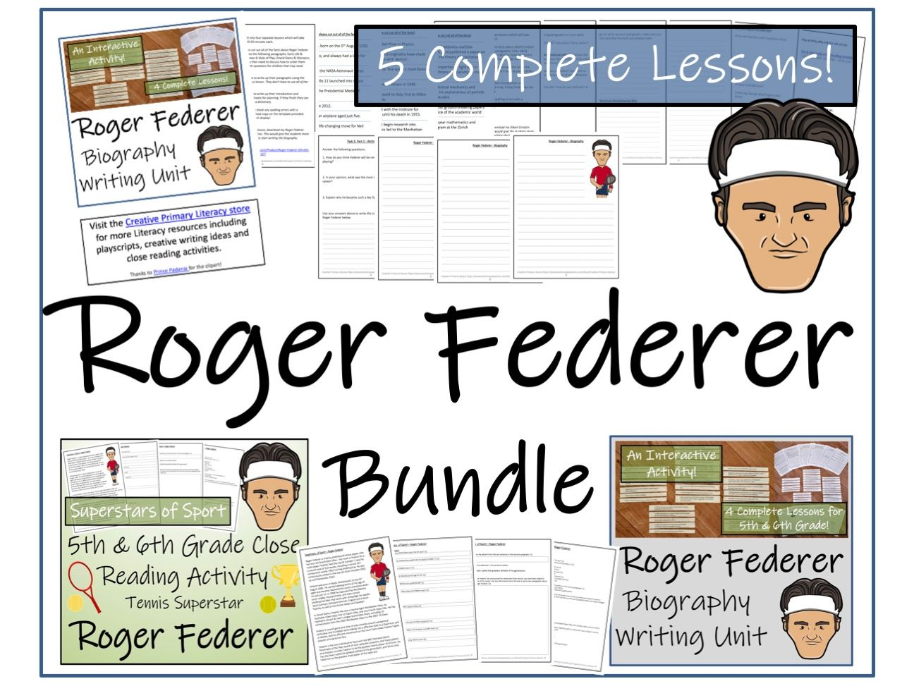 UKS2 Literacy - Bundle of Roger Federer Activities