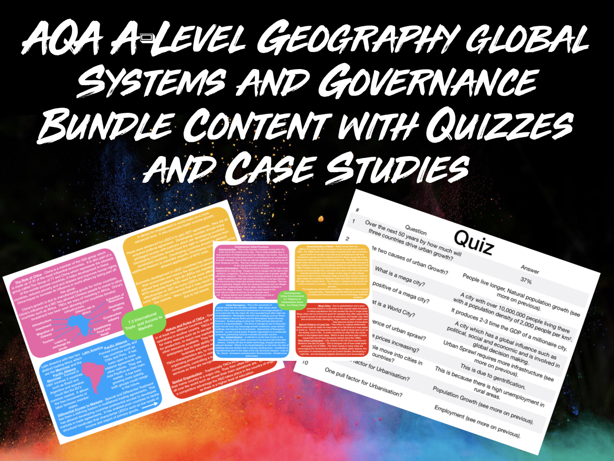 The ULTIMATE AQA A-Level Geography Global Systems and Governance Content and Case Studies Bundle With Quizzes