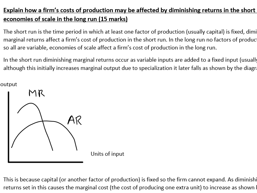 'Explain how a firm's costs of production may be affected by diminishing returns...