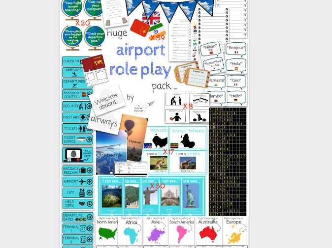 Huge (100 Pages!) Aeroplane and Airport Role Play Pack