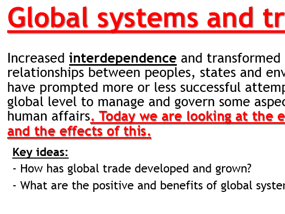 AQA Globalisation - L4 Trade (Lesson and Resources).