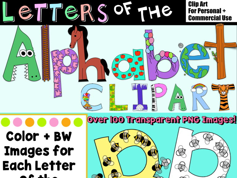 Letters Of The Alphabet Clip Art, 100+ Images, Upper/Lowercase Letters & Sounds!