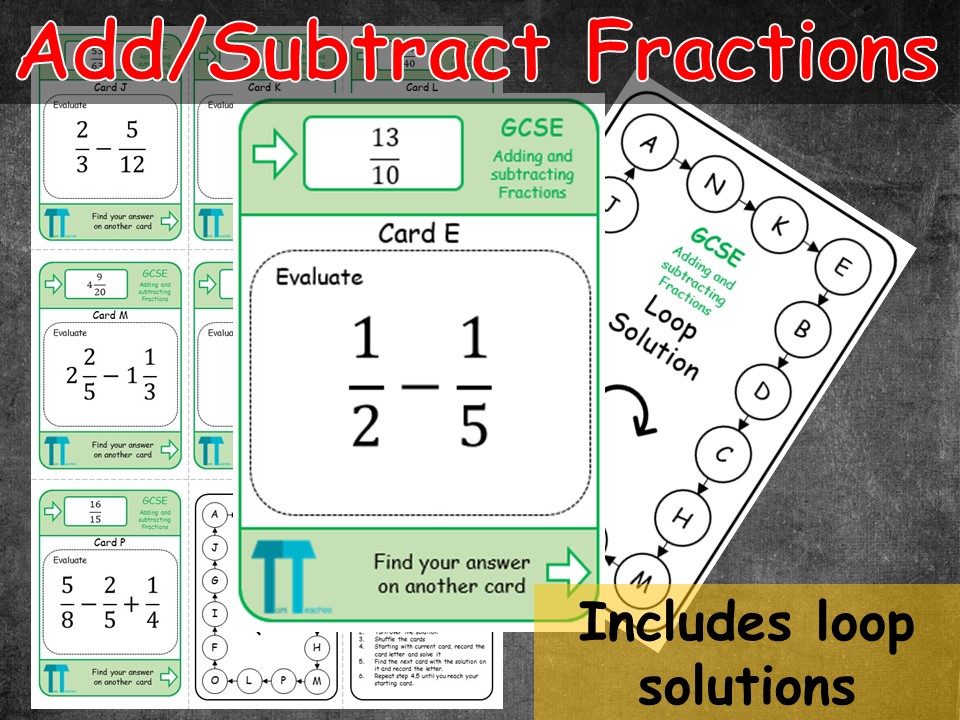 Adding and Subtracting fractions (Loop cards/Treasure hunt)