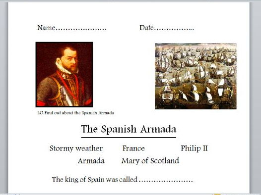 The Spanish Armada (powerpoints, quiz, worksheet)