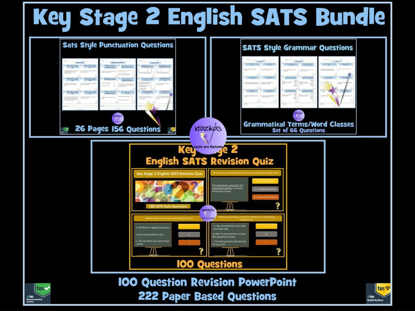 Key Stage 2 SATS English Bundle - 100 Question Revision PowerPoint and Set of  222 Grammar and Punctuation Questions