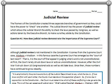 Judicial Review Reading (Civics/American Government)