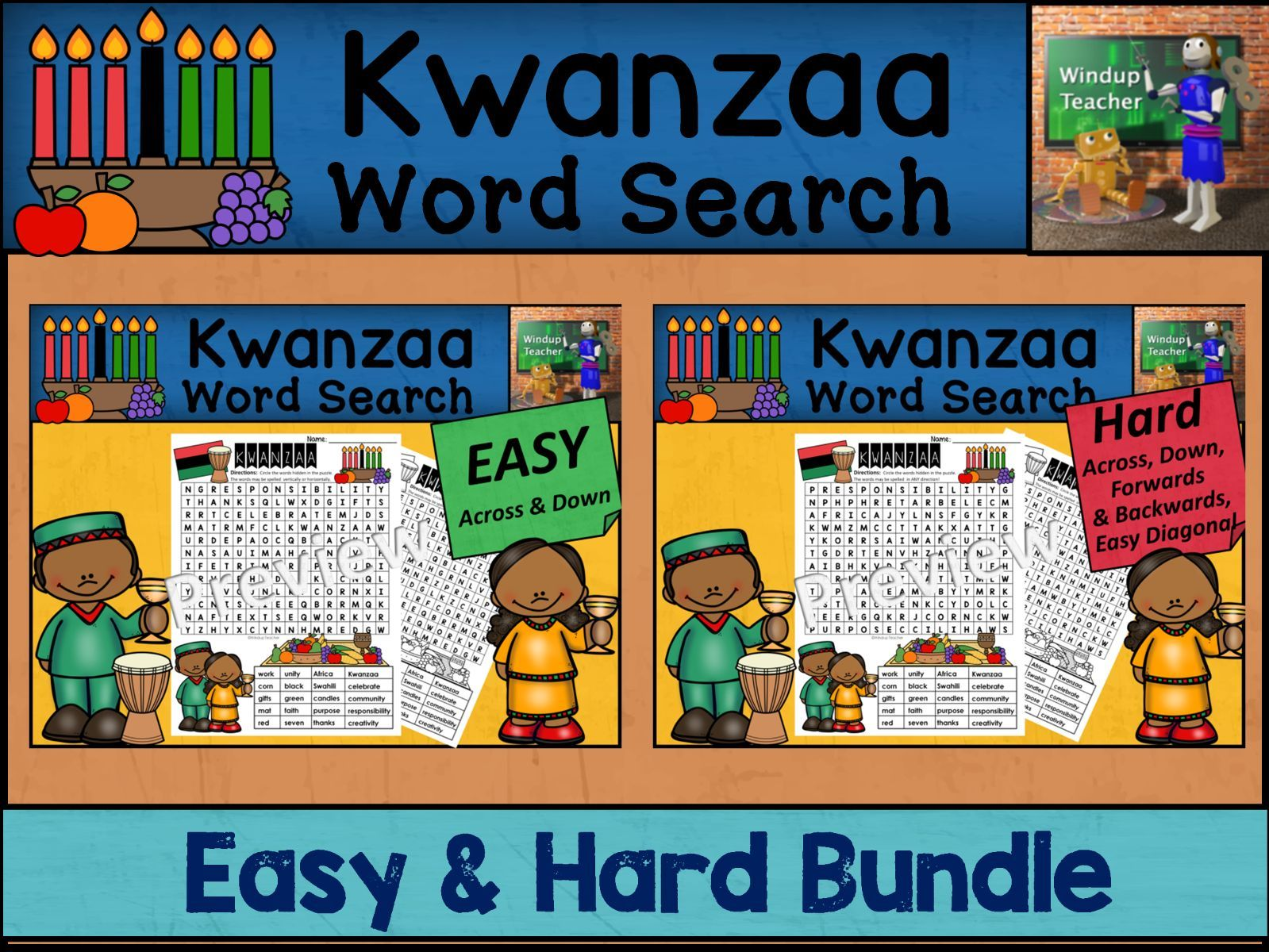 Kwanzaa Word Search BUNDLE - Easy and Hard Bundle