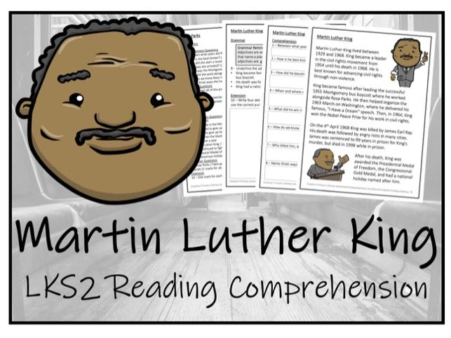 LKS2 History - Martin Luther King Reading Comprehension Activity