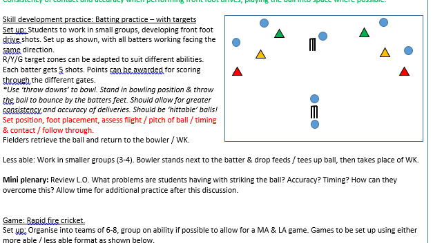 PE KS3 Cricket Scheme of Work