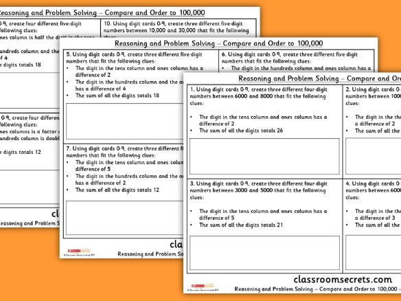 Year 5 Compare and Order to 100,000 WRMH Place Value Reasoning and Problem Solving Pack