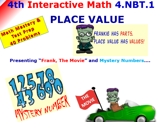 4.NBT.1 Math Interactive Test Prep – 10 times with PLACE VALUE  for 4th Grade