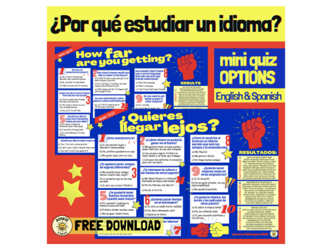 Why study languages miniquiz MFL Options KS3-4  ALevel. Por que estudiar un idioma Spanish & English