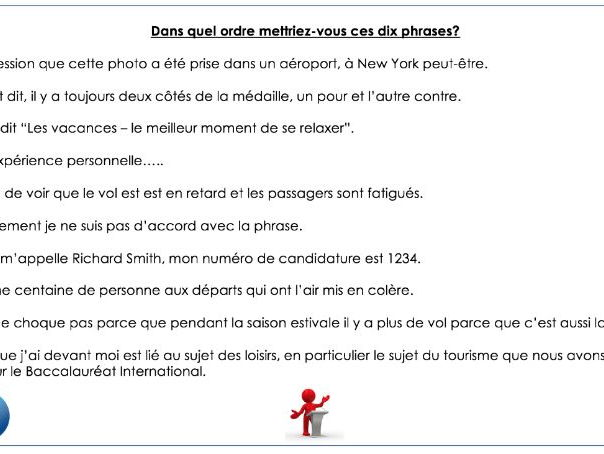 French IB speaking preparation - Les loisirs (hobbies and free-time)