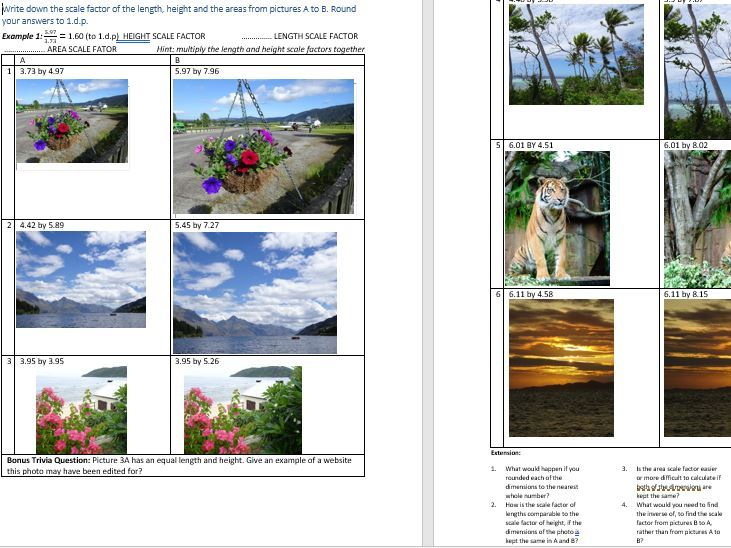 SCALE FACTOR / PROPORTION worksheet involving interesting PHOTOGRAPHS