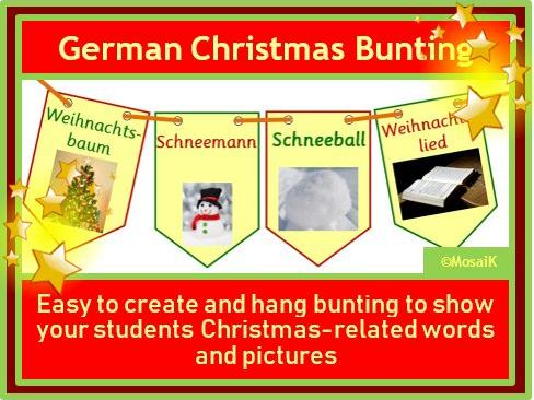 German, auf Deutsch: 20 flags for Christmas bunting, Weihnachten, Wimpel