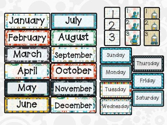 Robot Theme Calendar Pieces
