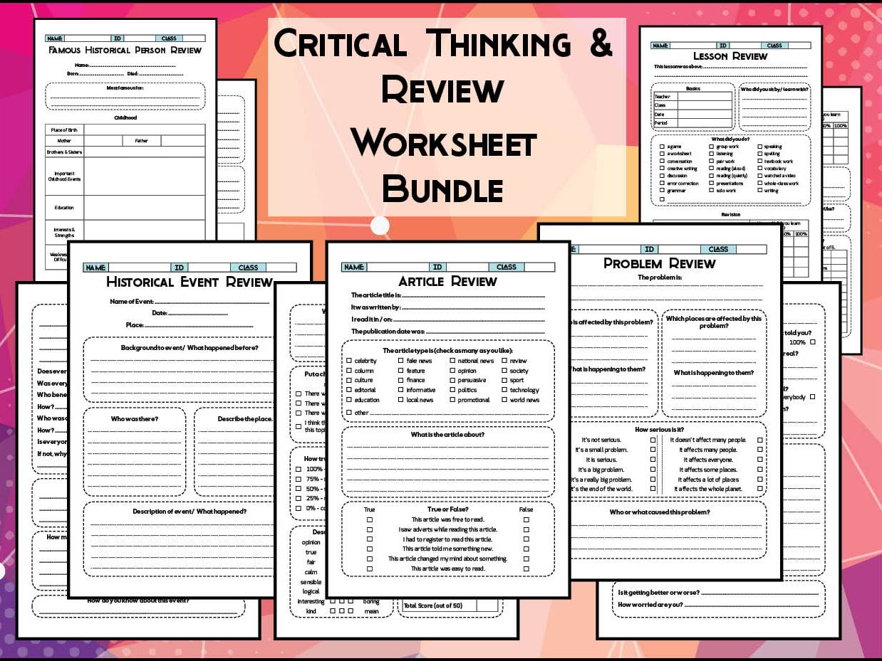 Critical Thinking Writing Prompt Worksheet Bundle