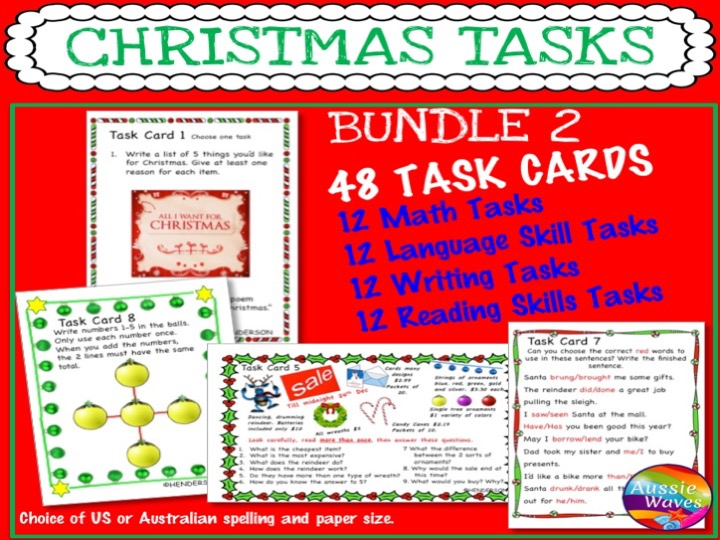CHRISTMAS Activities BUNDLE Task Cards Reading Writing Maths Language SET 2
