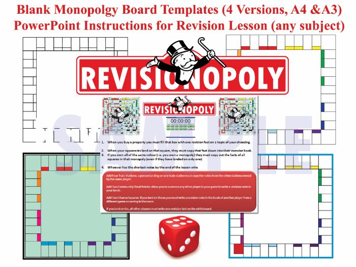Revisionopoly (Monopoly-style Board Game Templates) with PPT Instructions & AfL Tasks! [Revision]