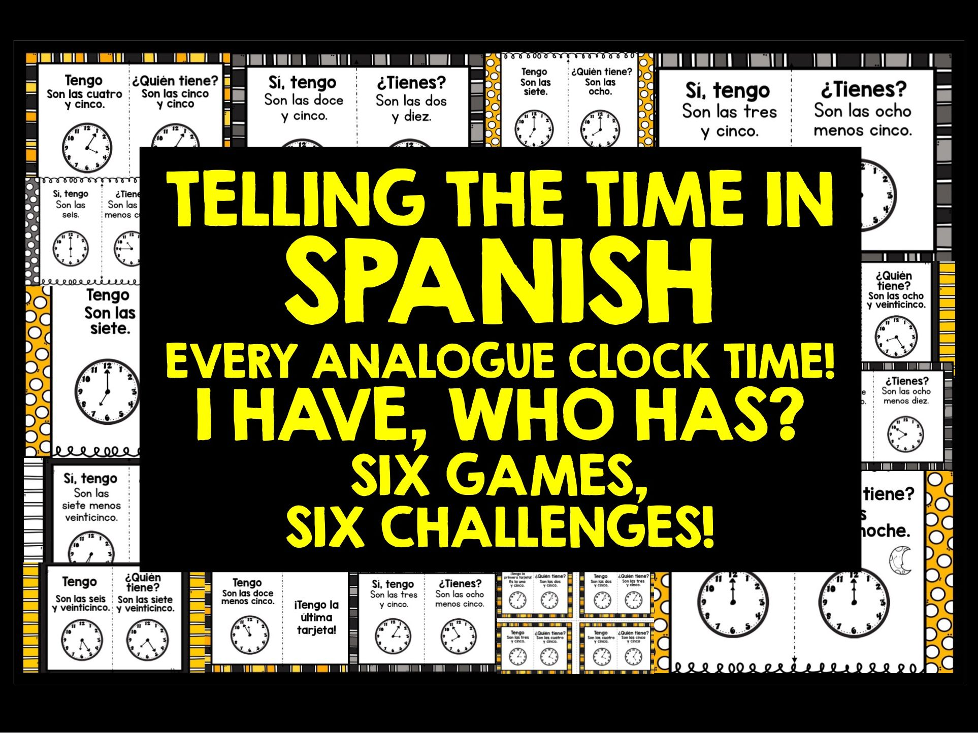 SPANISH TELLING TIME GAMES