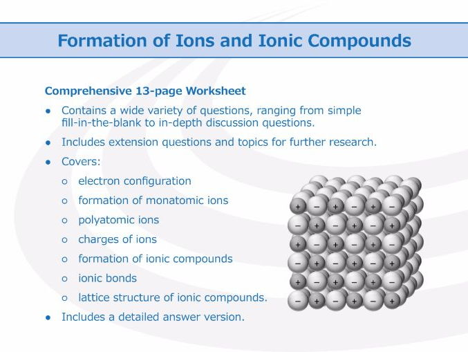 Formation of Ions and Ionic Compounds [Workbook]