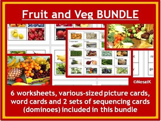 Food Technology, ESL: Fruits and Vegetables, worksheets and cards BUNDLE