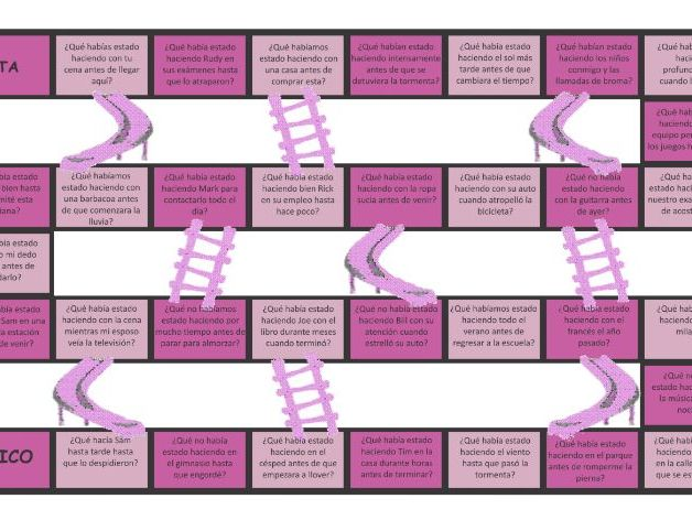 Past Perfect Continuous Tense Spanish Chutes and Ladders Board Game