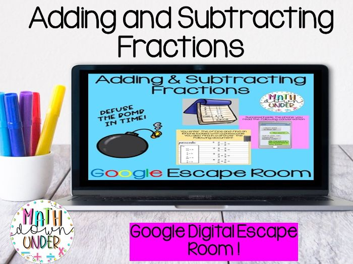 Adding and Subtracting Fractions - Digital Escape Room Distance Learning Google