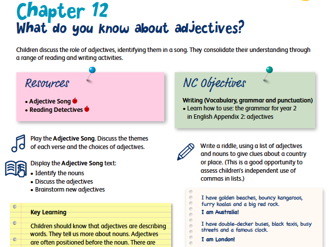 Adjectives Lesson Plan, Song and Resources