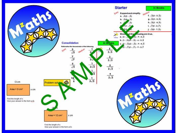 Surds - Rationalising/Problem Solving/Revision