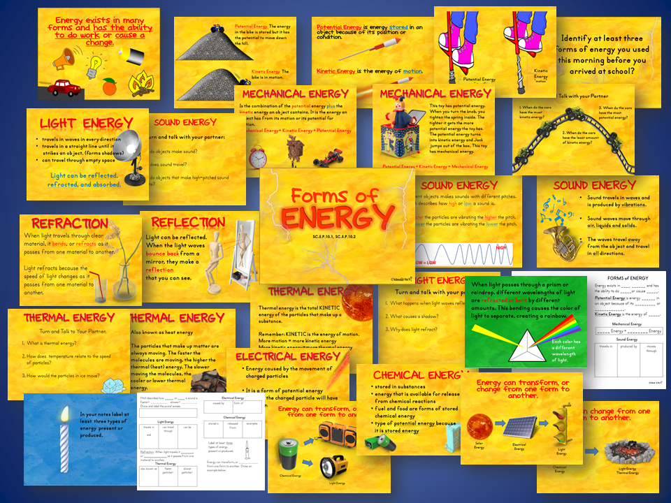 Forms of Energy Presentation and Interactive Student Notes Lesson