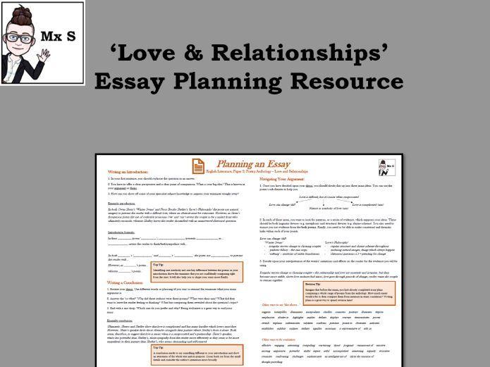 Love & Relationships Anthology - Essay Planning Knowledge Organiser