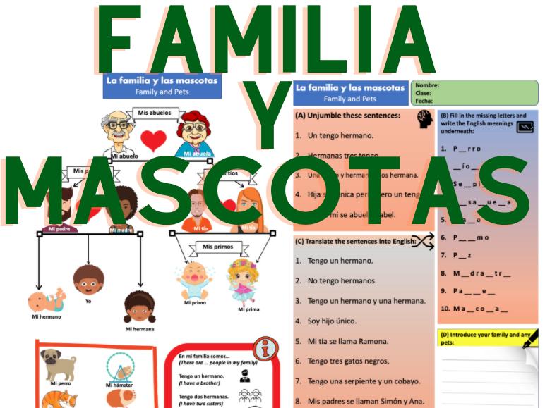 Spanish Family & Pets Knowledge Organiser