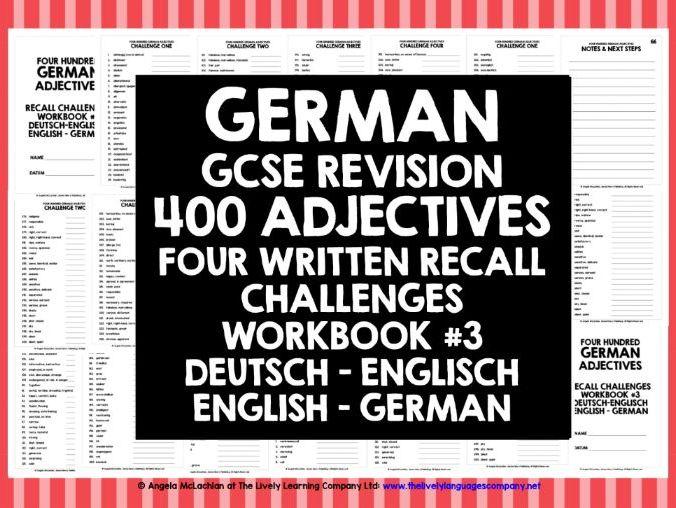 GCSE GERMAN: GERMAN ADJECTIVES RECALL WORKBOOK #3
